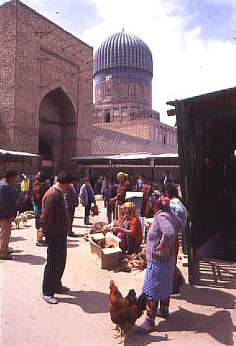 Geographical Magazine Samarkand market and Great Mosque